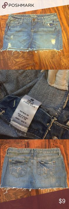 Guess jeans skirt Guess Jean skirt, distressed look. Size 30, size options is actually fits a medium or size 6 when converted Skirts Mini