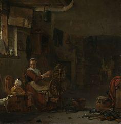 Thomas Wijck | Spinning Peasant Woman, Thomas Wijck, 1640 - 1677 | Spinnende boerin. Interieur van een boerenwoning waarin een vrouw aan het spinnen is, naast haar speelt een kind in een kinderstoel met een hond. De kamer is vol met huisraad.