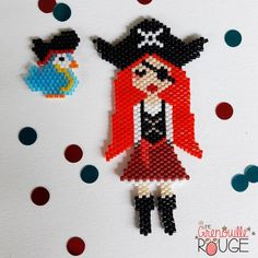 Pirate girl and parrot Seed Bead Earrings, Diy Earrings, Seed Beads, Loom Beading, Beading Patterns, Perler Beads, Little Girl Jewelry, Beaded Animals, Beaded Ornaments