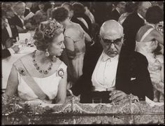Famous Greek poet Georgios Seferis with Princess Sibylla of Sweden when he won the Nobel Prize.
