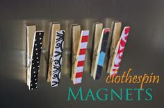 clothespins magnets - might be good for decorating clothespins for things like my V-day mantel, too!