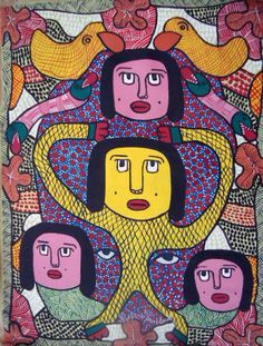 RARE PAINTING HAITIAN ART PROSPERE PIERRE LOUIS ABSTRACT PRIMITIVISM HAITI  #Surrealism