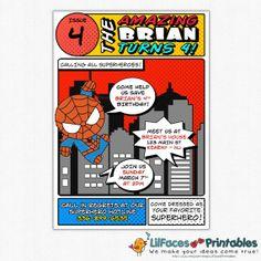 SuperHero Invitation - Invite Card - Super Hero Cute Spiderman - BIRTHDAY POP ART on Etsy, $10.95