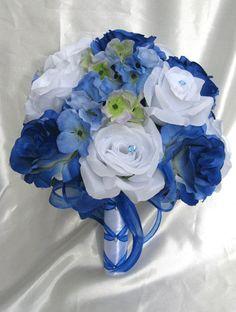 royal blue and light blue wedding decorations | Wedding bouquet Bridal Silk flowers ROYAL BLUE WHITE Periwinkle ...