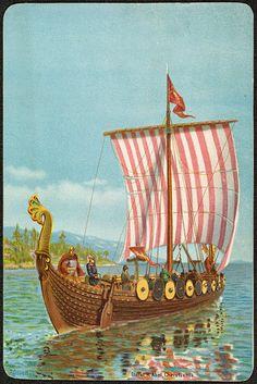 Postkort Kunstnerkort Andreas Bloch Flott kort med vikingskip Utg H. Norwegian Vikings, Viking Ship, Sailing Ships, Norway, Drawings, Artist, Painting, Image, Boats