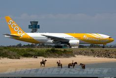 Scoot Airlines Boeing 777-212/ER (registered 9V-OTD) on the runway at Sydney; note the horseback riders on the beach nearby
