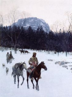Obsidian Mountain in The Yellowstone by Henry Farny