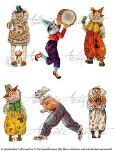 Circus Clowns Jesters Vintage Clip Art Scrap Digital Collage Sheet for your Puppet Theaters Clowning Around