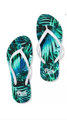 035815ed7ad040 Victorias Secret PINK Flip Flops Fern Print Size Large 910     Learn more  by visiting the image link.