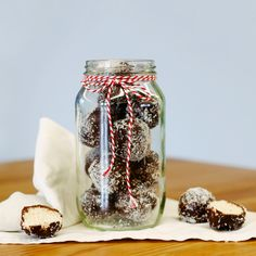 These Bounty Bliss Balls are gluten free and dairy free, plus they contain dark chocolate which stimulates the release of serotonin and magnesium, (which is a very important micronutrient for many of our body's functions! Bliss Balls, Our Body, Health And Nutrition, Dairy Free, Mason Jars, Coconut, Gluten, Treats, Chocolate