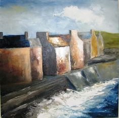 Artist Padraig McCaul's interpretation of Lahinch Promenade. This piece was created using oil on canvas and is currently on display at €1450
