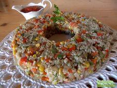 corona de arroz integral con verduritas al wok y salsa especial