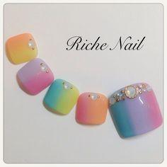 Cute Toe Nails, Fancy Nails, Love Nails, Trendy Nail Art, New Nail Art, Japan Nail Art, Feet Nails, Toe Nail Designs, Pedicure Nails