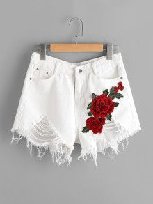 Shop Destroyed Denim Shorts With Embroidered Applique online. SheIn offers Destr… Shop Destroyed Denim Shorts With Embroidered Applique online. SheIn offers Destroyed Denim Shorts With Embroidered Applique & more to fit your fashionable needs. Cute Casual Outfits, Short Outfits, Summer Outfits, Girls Fashion Clothes, Teen Fashion Outfits, Fashion Sewing, Denim Fashion, Short En Jean, Short Jeans