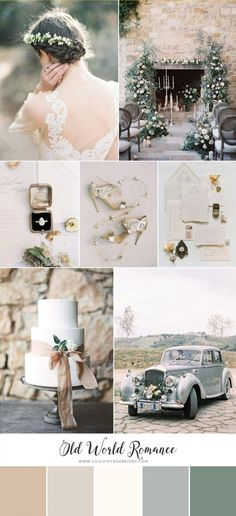 Old World Romance - Timeless Wedding Inspiration in Dusky Hues - Chic Vintage Brides : Chic Vintage Brides Chic Vintage Brides, Vintage Wedding Photos, Vintage Weddings, Lace Weddings, Wedding Mood Board, Wedding Art, Wedding Bells, Wedding Ideas, Wedding Collage