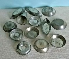Twelve French Patisserie / Tart / Tartlet Baking Tins and one Piping Nozzle. Vintage Tins, French Vintage, Retro Vintage, Bread Tin, French Patisserie, Baking Tins, Tart, Ebay, Pie