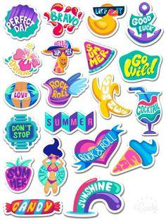 Love Summer-Stickers Printable #free#stickers#printable#summer#love#cute#holiday#season#diy#handmade#scrapbooktools#candycameraapp