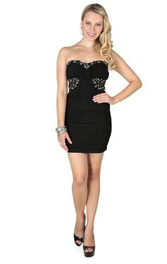 Deb Shops Strapless Cocoon Dress with Sheer Sides and Chunky Stone Trim $52.90