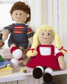 Free crochet doll patterns - A boy and girl doll to crochet