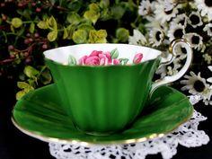 Hunter Green Royal Adderley Tea Cup, Floral Teacup and Saucer, English Bone China