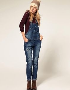 ASOS | ASOS Denim Dungaree with Patch Detail at ASOS