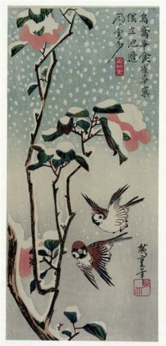 Sparrows and Camellias in the Snow - Hiroshige