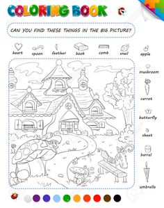 Coloring Book Game For Kids. Setting: Can You Find These Things. Royalty Free Cliparts, Vectors, And Stock Illustration Games For Kids, Art For Kids, Hidden Pictures Printables, Hidden Picture Puzzles, Hidden Objects, Free Coloring, Kids Coloring, Wedding Art, Coloring Book Pages