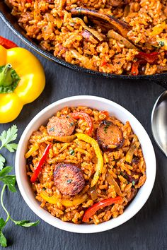 Smoked Sausage and Red Rice Skillet | thecozyapron.com