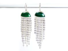 Jellyfish Silver Earrings Malachite Chain by KipkalinkaJewels, €189.00