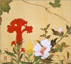 Detail. Birds and Flowers of the Four Seasons scroll. Sakai Hoitsu. 1818. Tokyo National Museum. 酒井抱一「四季花鳥図巻」 江戸時代後期酒井抱一「四季花鳥図巻」 江戸時代後期