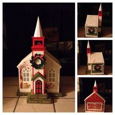 Christmas church...it can hold a gift inside or used as decoration with battery operated tea lights inside which shows through the windows. #svgcuts