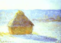 Haystack, Snow Effects, Morning, Oil by Claude Monet (1840-1926, France)