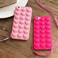 Stylish 3D Stereo Heart Shapes Candy Color Soft TPU Skin Shell For iPhone 7  Fashion Pink Phone Cover Case For iphone 7 Plus