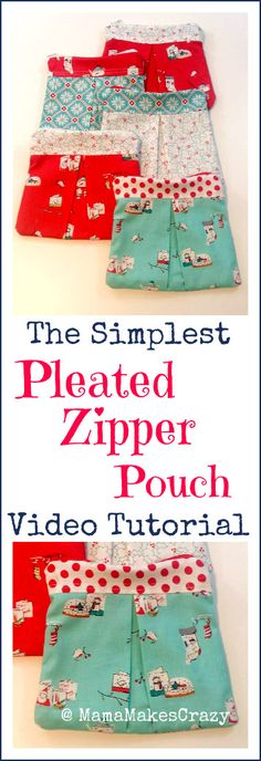 The simplest pleated zipper pouch tutorial