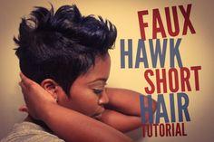 Faux Hawk Short Relaxed Hair Tutorial [Video] – Black Hair Information Source by cheirephillips Short Sassy Hair, Short Hair Cuts, Short Hair Styles, Curly Short, Curly Pixie, Short Curls, Pixie Cuts, Messy Curls, Love Hair