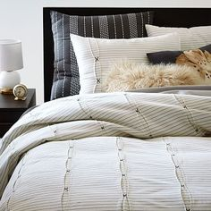 Fanstastic masculine pleats and stripes bedding. Classy!  #westelm