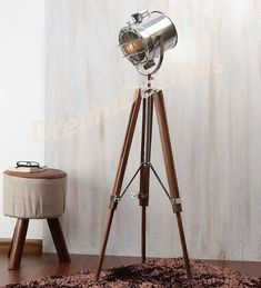 Classic Theatre Spot Light with Solid Wooden Tripod - Floor Lamp Vintage/Retro in Home, Furniture & DIY, Lighting, Lamps | eBay