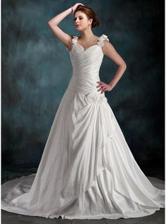 A-Line/Princess Sweetheart Chapel Train Taffeta Wedding Dress With Ruffle Flower(s) - MADE TO ORDER
