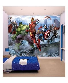 Create an instant feature wall in your room with this beautifully detailed Avengers Assemble Wall Mural! The colourful mural is printed onto high quality paper to ensure a fantastic finish and is made up of 12 smaller panels for easy application. The mural has a stunning image of Thor, Hulk, Iron Man, Hawkeye, Captain America, Falcon, Nick Fury and Black Widow and is a simple way to give a room an Avengers theme