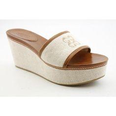 Coach Jaci Womens Size 9 Beige Natrlnatr Slides Canvas Wedge Sandals Shoes