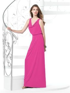 DESSY COLLECTION STYLE 2830 $230.00 Sleeveless cowl neck full-length lux chiffon bridesmaid dress with draped skirt. 00-30W extra length. dress for bridal party.