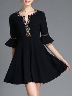Beaded Shirred Frill-sleeved Midi Dress