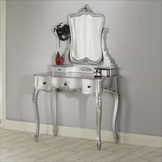 Furniture. silver glaze wooden vanity table dresser with carved swing mirror in…