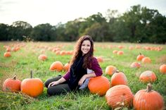 Fall senior pictures with pumpkins