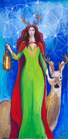 Elen of the Ways, Celtic Goddess Art by PaintingsJudithShaw on Etsy- prints start at $25.