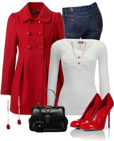 """Bright Red Coat"" by stay-at-home-mom on Polyvore. swap for my green or blue coat addd shoes acessories in those colors."