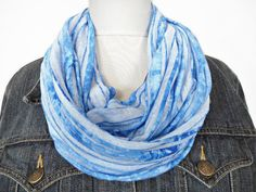 Blue Stripes Scarf Infinity White Ombre Sheer - Summer Circle Scarf - Cowl