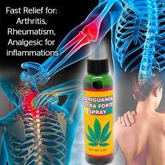Mariguanol Spray 4 Oz.  Alivio rápido para: La artritis, reumatismo, Analgésico para las inflamaciones, hematomas, dolor muscular, dolor de espalda, dolor de cabeza y la nuca. Presentación: Spray  MAS INFORMACION EN NUESTRA WEB