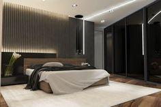Bedroom / black style on Behance Luxury Bedroom Design, Bedroom Bed Design, Home Room Design, Luxury Interior, Room Interior, Interior Design Living Room, Closet Bedroom, Home Bedroom, Bedroom Wall