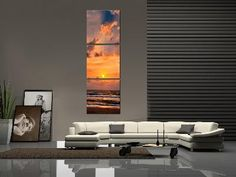 Sunset Over The Ocean Vertical Triptych Pictures http://landscapephotographyshop.com/category/vertical-and-square-displays/